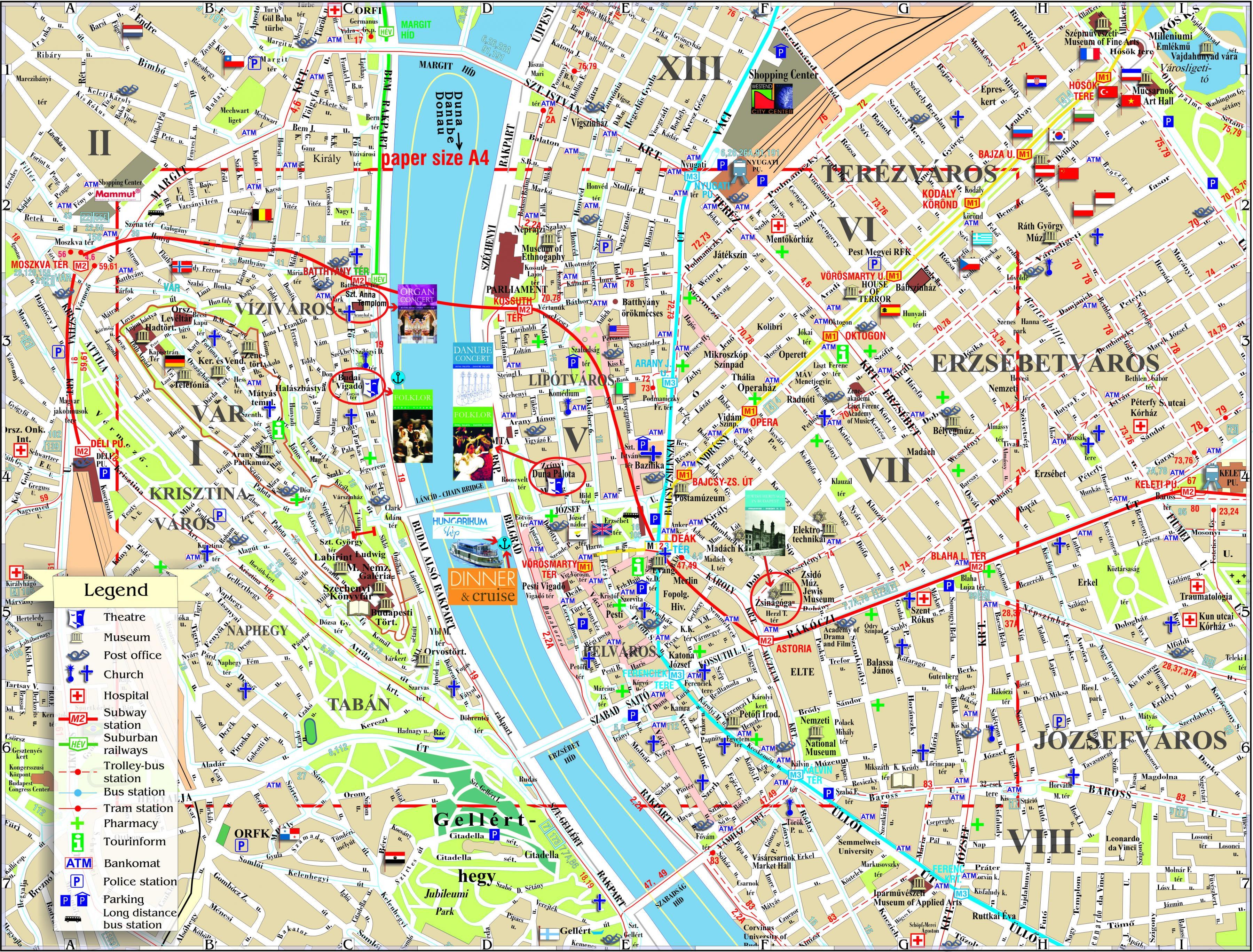 Budapest Turistattraktioner Kort Budapest Bykort Med