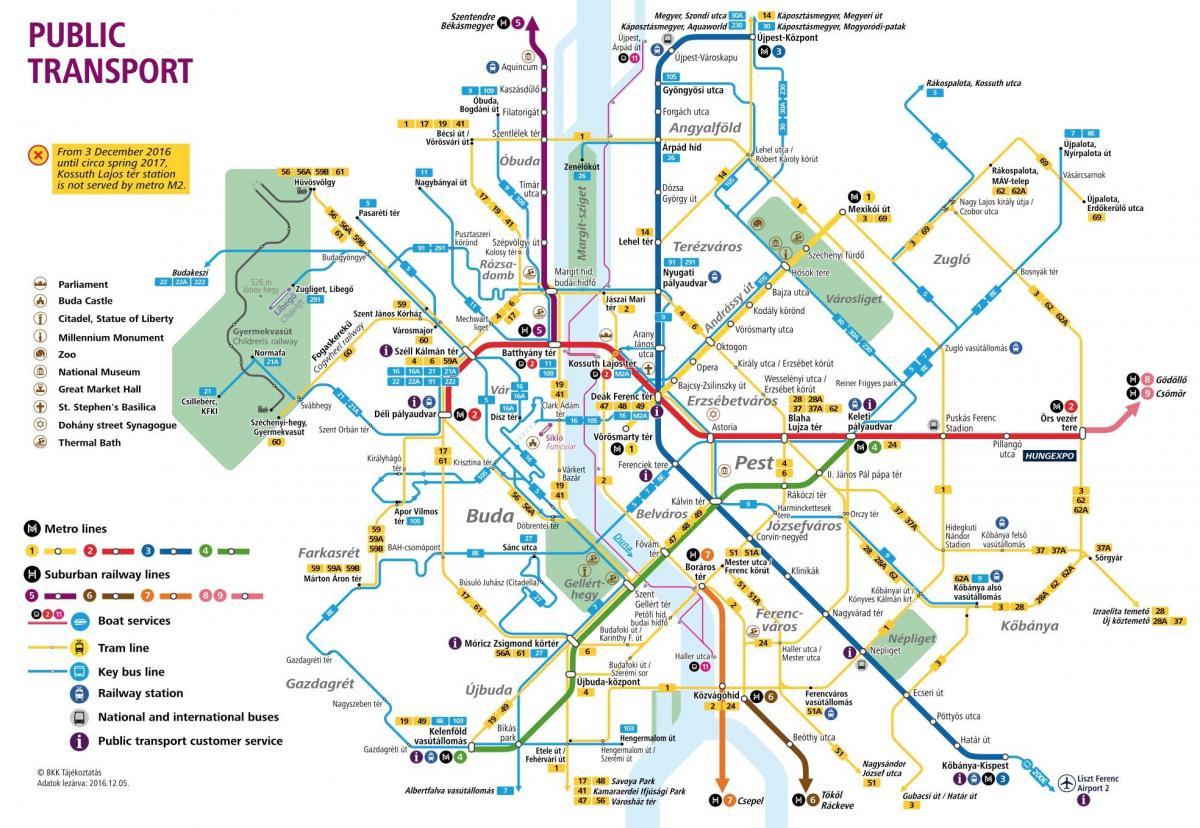Budapest Offentlig Transport Kort Kort Over Budapest Ungarn